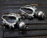 Antique Indian or Nepalese Silver Earrings with Double Snake Motif
