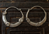 Antique Indian Hilltribe Silver Earrings with Sun Motif