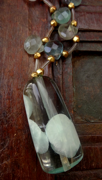 Unique Flourite Gemstone Necklace with 22ct Gold Beads