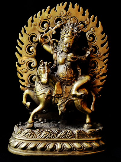 Palden Lhamo or Shri Devi Statue - Brass - 7.5 inches