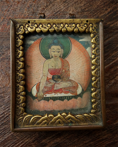 Antique Copper & Brass Gau with Miniature Painting of Shakyamuni Buddha