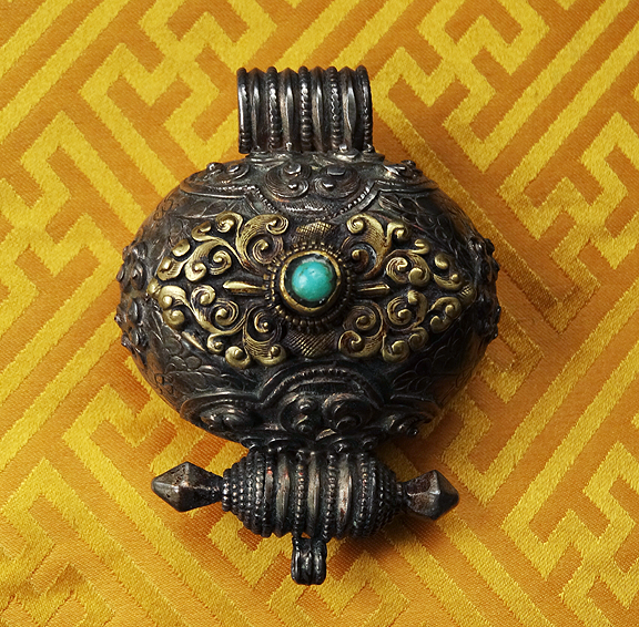Antique Tibetan Silver & Gilt Gau with Turquoise - 19th C