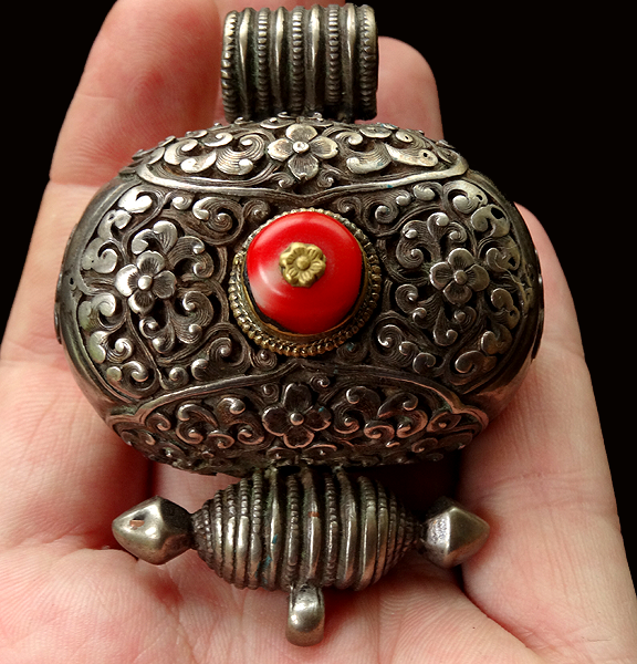 Antique Tibetan Silver & Gilt Gau with Red Coral - 19th C
