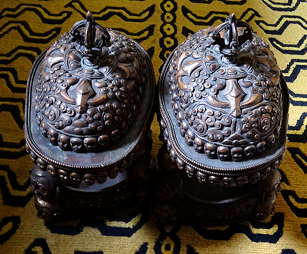 Rare Matched Pair of Human Skull Kapalas with tripods and lids - Mid 20th C