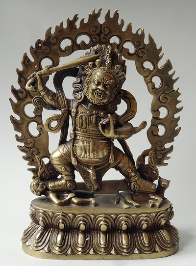 Begtse Chen (Chamsing) Protector Statue - Brass - 8.5 inches