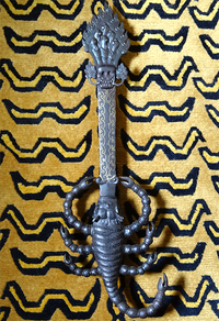 Very Rare Iron Scorpion Handled Khadga - Fire Sword