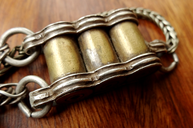 Antique Tibetan Bullet Case Pendant on Silver Rope Chain- 19th C