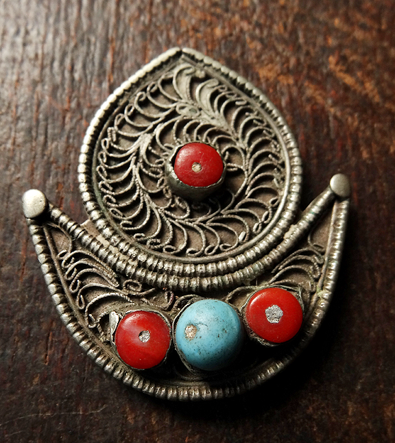 Antique Tibetan Silver Sun and Moon Pendant