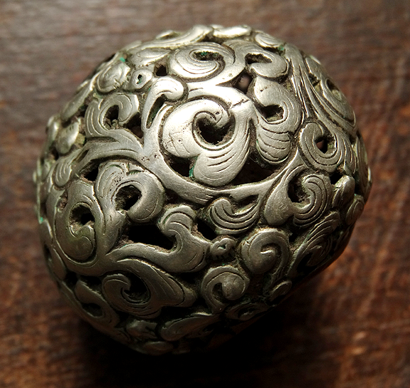 Rare Antique Silver Bead with foliage design - 19th C