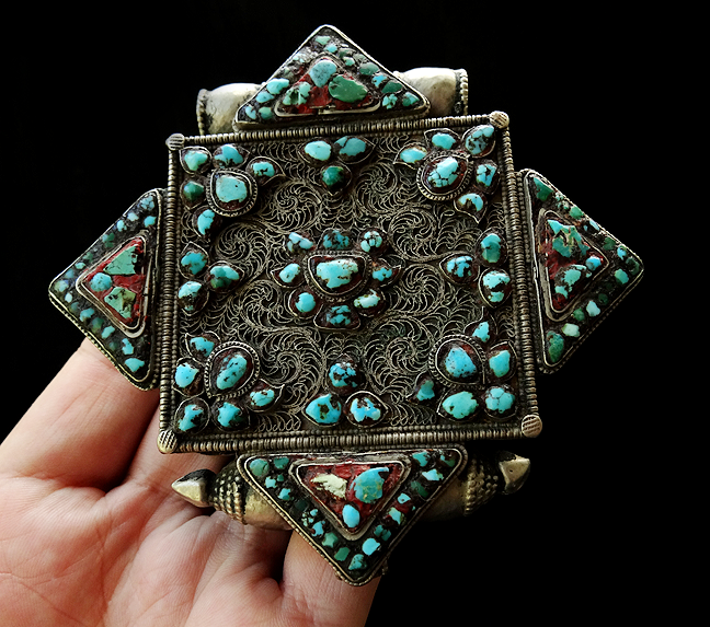 Large Antique Tibetan Gau with Turquoise - 19th C