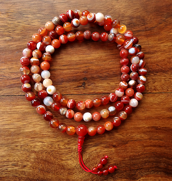 Sardonyx Mala with beaded tassle