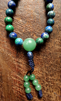 Fine Azurite & Malachite Mala with Green Chalcedony - 8mm