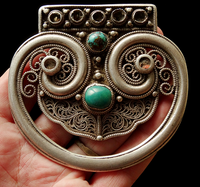 Antique Tibetan Silver Belt Ornament or Mechag Accessory - 19th C