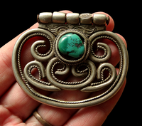 Antique Tibetan Silver Belt Ornament or Chuckmuck Accessory - 19th C