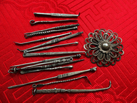 Miscellaneous Antique Tibetan Silver Tools - Tooth Picks, Ear Spoons