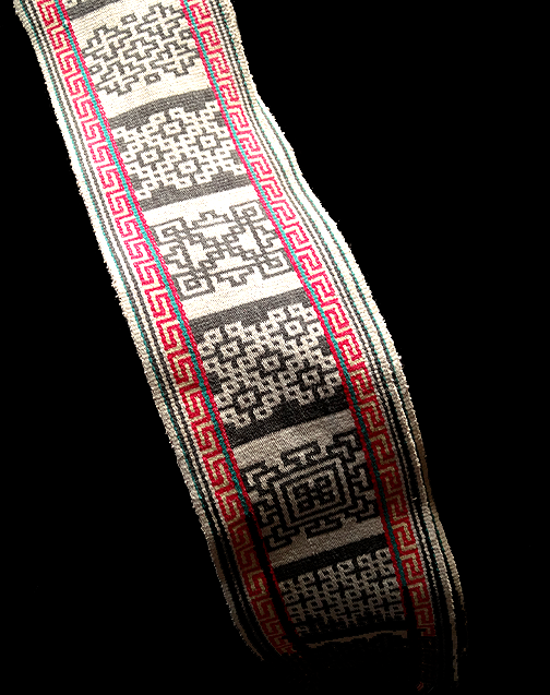 Vintage Tibetan/Himalayan Hand Woven belt with Eternal Knot Motifs