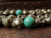 Natural Pyrite Skull Bead Mala with Turquoise Dividers - 8mm