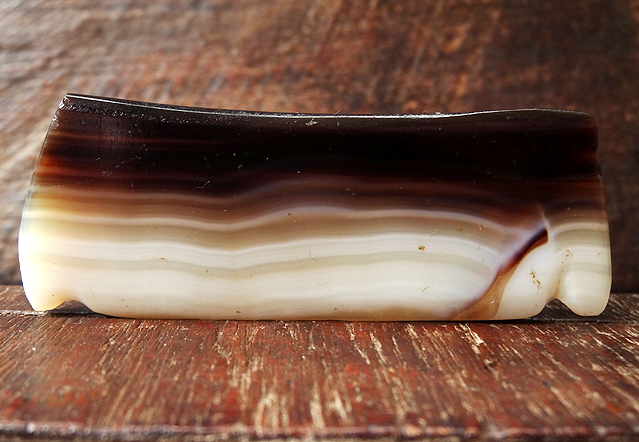 Large Ancient Banded Agate Comb Bead - South East Asia - 72mm