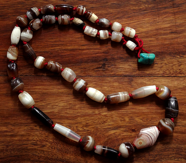 Ancient Banded Agate Bead Necklace
