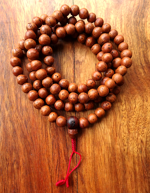 Fine Quality Smooth Indian Raktu Seed Mala - 8mm - Natural Colour