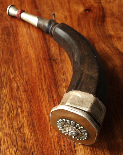 Large Antique Tibetan Powder Horn - 19th C