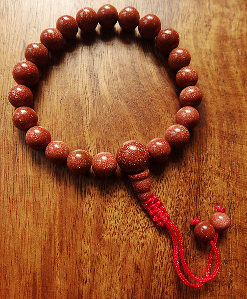 Indian Goldstone Wrist Mala - 8mm