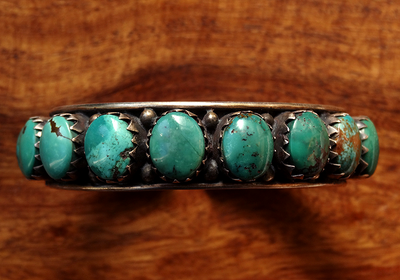 Silver Bracelet Mounted with Turquoise