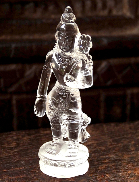 Miniature Gemstone Rock Crystal Standing Padmapani Carving