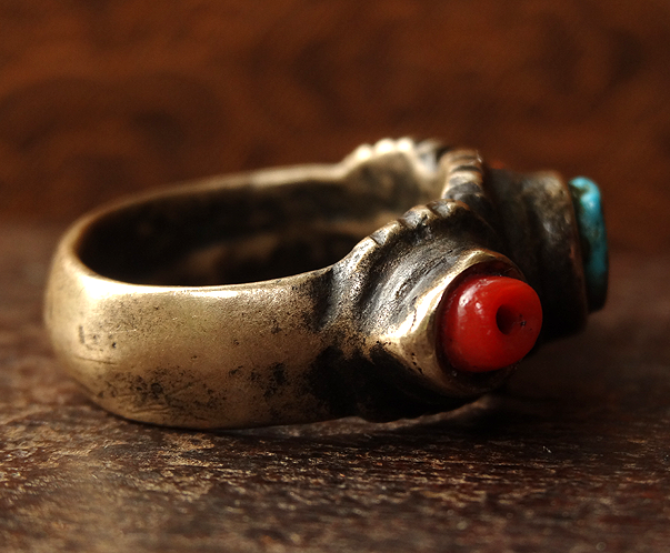 Antique Tibetan Bronze Ring with Coral & Turquoise