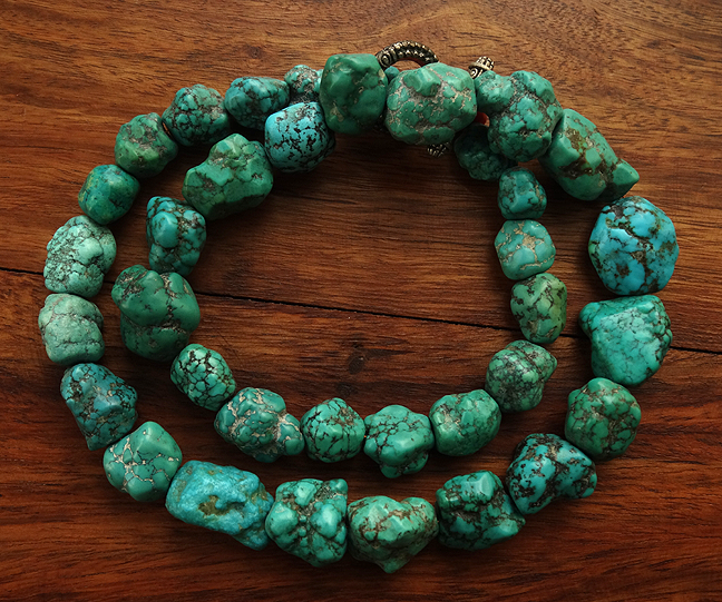 A strand of 36 Chinese Turquoise Beads