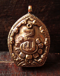 Tibetan Copper Gau with Seed Syllable