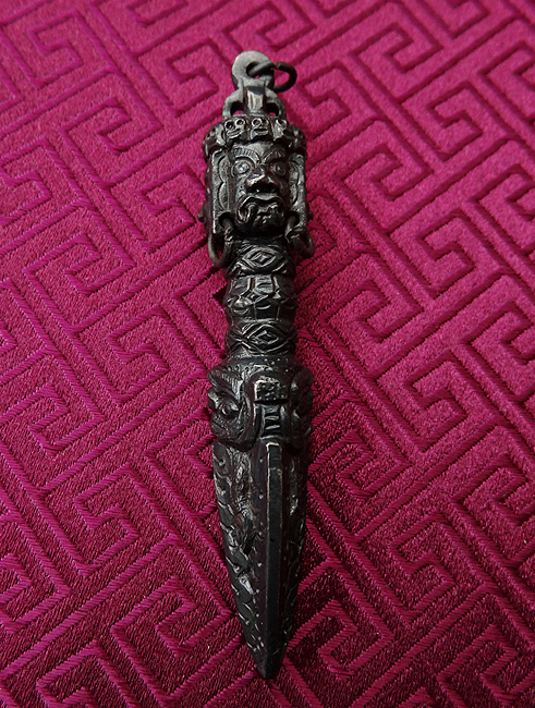 Fine Dark Iron Phurba or Kila Amulet Pendant - 7 cms - Crafted in Tibet