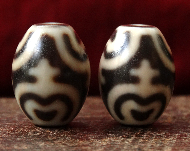 High Quality Matched Pair of New Lotus Vase dZi Beads - 22 mm