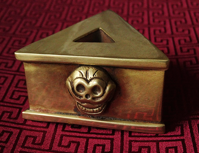 Brass Phurba Stand with Skull Design