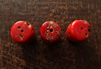 Three Antique Coral Beads ~ 14 mm