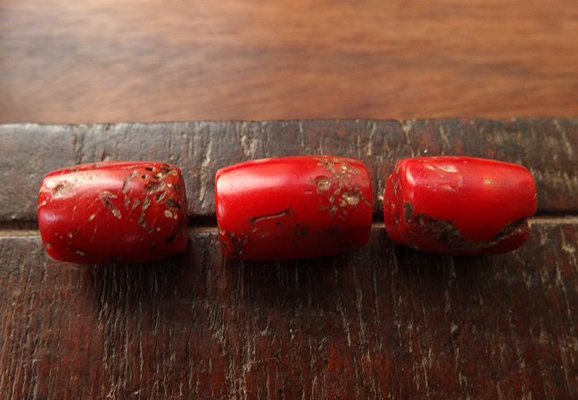 Three Antique Red Coral Beads ~ 17 mm