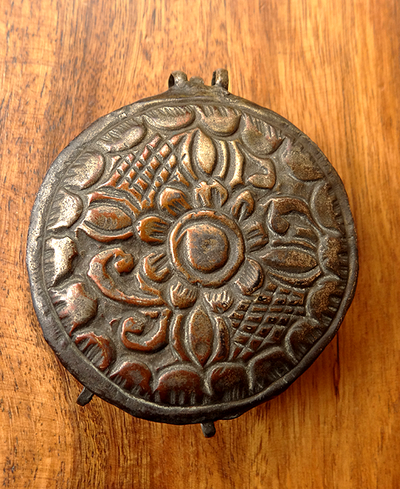 Antique Tibetan Gau with Floral Motif