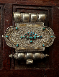Large Antique Tibetan Silver Gau with Turquoise Inlay - 19th C