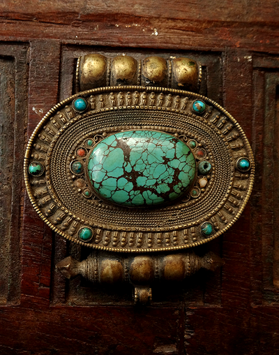 Large Antique Tibetan Gau Inlaid with Turquoise