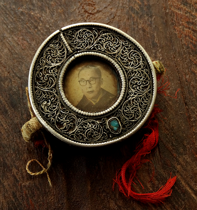 Antique Silver Fronted Dalai Lama Gau Inlaid with Turquoise