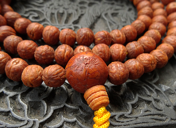Finest Natural Indian Raktu Seed Mala with beaded tassle - 8mm