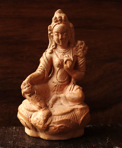 Antique Terracotta Green Tara Figurine or Tsa Tsa - 19th C