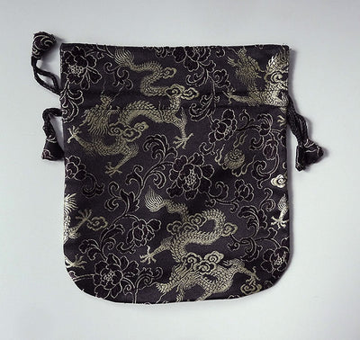 Finest Silk Mala Bag -  Black Dragon