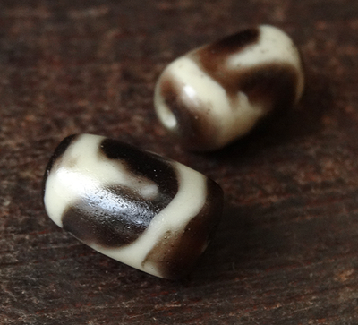 Pair of Vintage Plastic/Resin Horse Tooth or Tasso dZi Beads - 17.5 mm