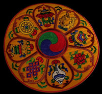 Round Auspicious Symbol Table Cover for Bell & Dorje - Orange Background
