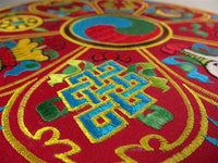 Round Auspicious Symbol Table Cover for Bell & Dorje - Red Background