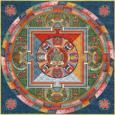Green Tara Mandala Thangka - Fine Art Thangka Reproduction - by Flera Birmane