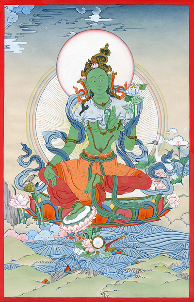 Green Tara Thangka - Fine Art Thangka Reproduction - by Flera Birmane