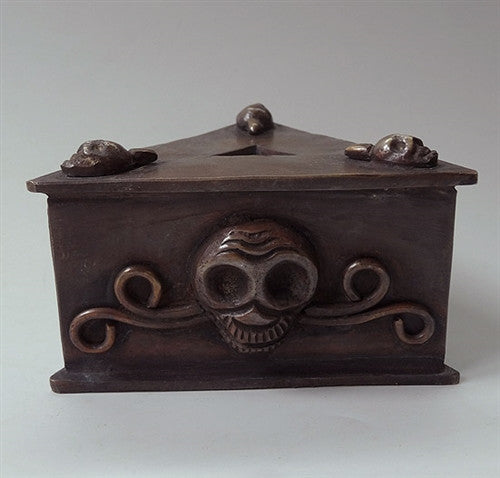 Large Copper Phurba Stand with skull decoration