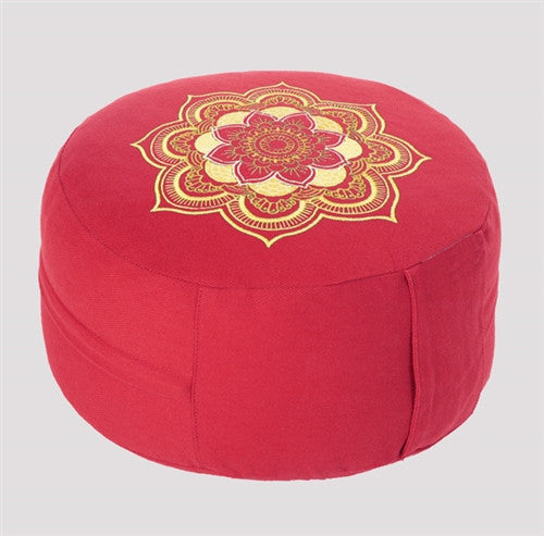 Lotus Mandala Meditation Zafu - Red